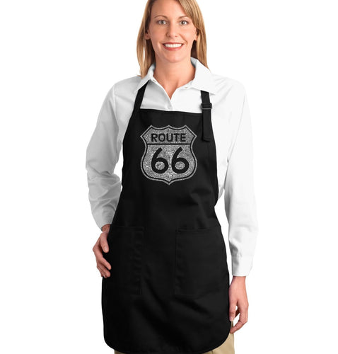 LA Pop Art Full Length Word Art Apron - CITIES ALONG THE LEGENDARY ROUTE 66