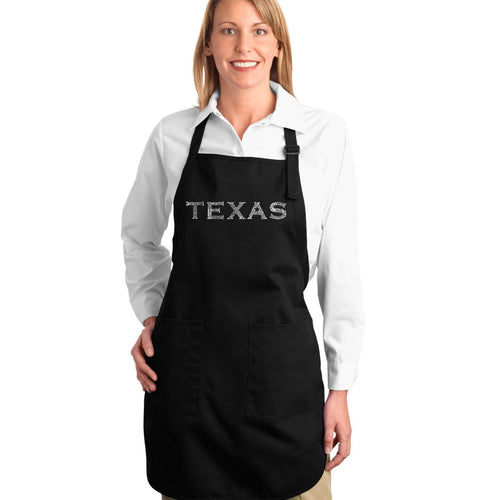 LA Pop Art Full Length Word Art Apron - THE GREAT CITIES OF TEXAS