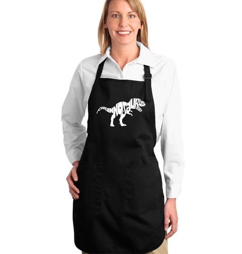 LA Pop Art Full Length Word Art Apron - TYRANNOSAURUS REX