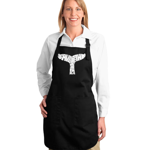 LA Pop Art Full Length Word Art Apron - SAVE THE WHALES