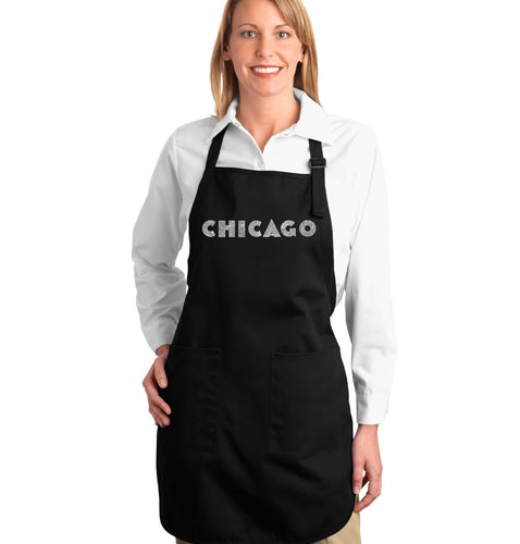 LA Pop Art Full Length Word Art Apron - CHICAGO NEIGHBORHOODS