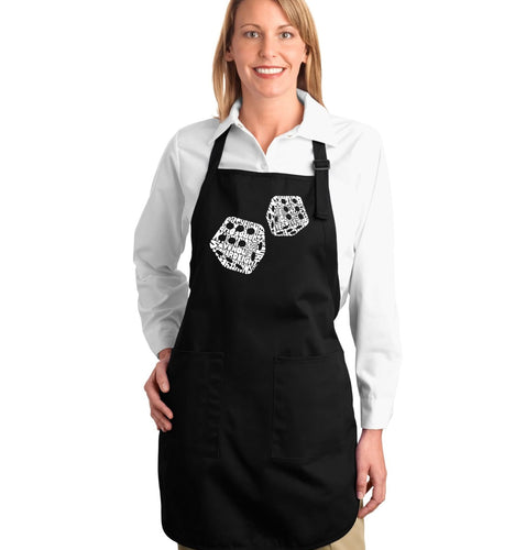 LA Pop Art Full Length Word Art Apron - DIFFERENT ROLLS THROWN IN THE GAME OF CRAPS