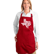 Load image into Gallery viewer, LA Pop Art Full Length Word Art Apron - DONT MESS WITH TEXAS