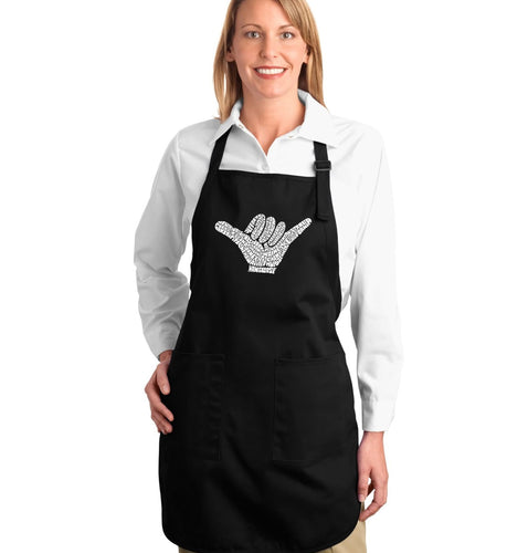 LA Pop Art Full Length Word Art Apron - TOP WORLDWIDE SURFING SPOTS