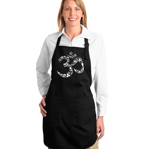 LA Pop Art Full Length Word Art Apron - THE OM SYMBOL OUT OF YOGA POSES