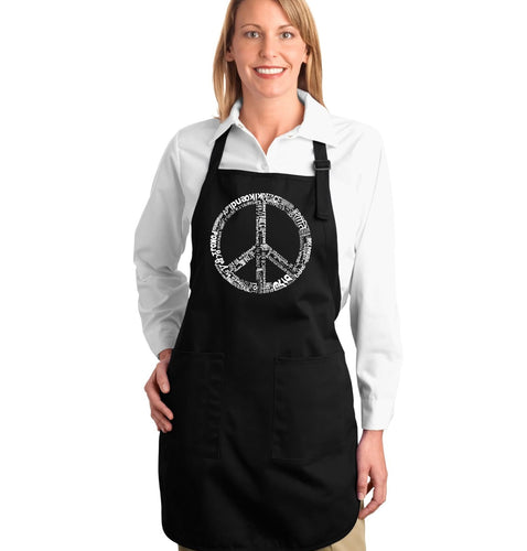LA Pop Art Full Length Word Art Apron - THE WORD PEACE IN 77 LANGUAGES