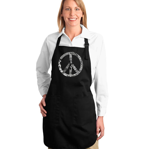 LA Pop Art Full Length Word Art Apron - PEACE, LOVE, & MUSIC