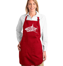 Load image into Gallery viewer, LA Pop Art Full Length Word Art Apron - SPECIES OF SHARK