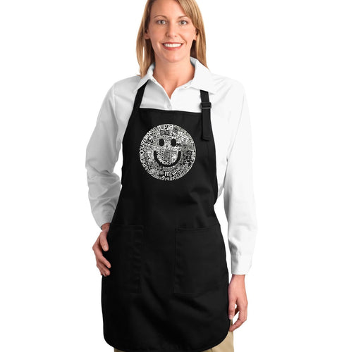 LA Pop Art Full Length Word Art Apron - SMILE IN DIFFERENT LANGUAGES