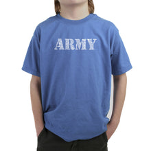 Load image into Gallery viewer, LA Pop Art Boy's Word Art T-shirt - LYRICS TO THE ARMY SONG