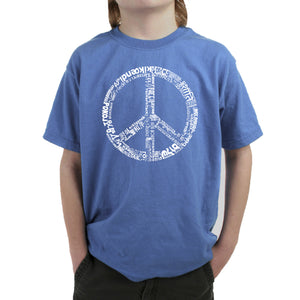 LA Pop Art Boy's Word Art T-shirt - THE WORD PEACE IN 77 LANGUAGES