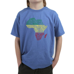LA Pop Art Boy's Word Art T-shirt - Countries in Africa