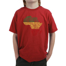 Load image into Gallery viewer, LA Pop Art Boy's Word Art T-shirt - Countries in Africa