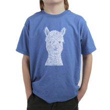 Load image into Gallery viewer, LA Pop Art Boy's Word Art T-shirt - Alpaca