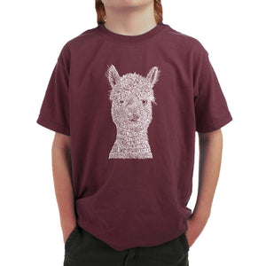 LA Pop Art Boy's Word Art T-shirt - Alpaca
