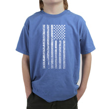 Load image into Gallery viewer, LA Pop Art Boy's Word Art T-shirt - National Anthem Flag