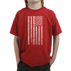 LA Pop Art Boy's Word Art T-shirt - National Anthem Flag