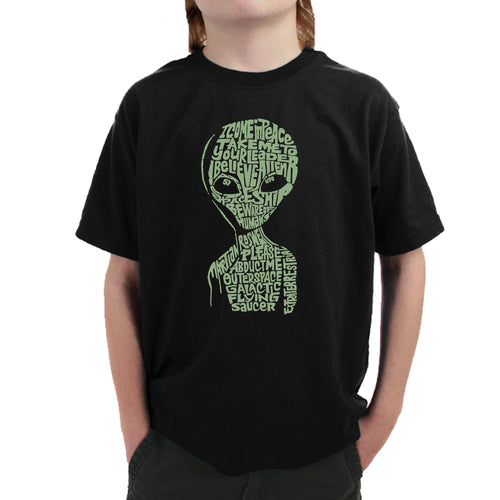 LA Pop Art Boy's Word Art T-shirt - Alien