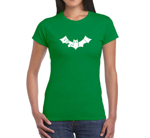 LA Pop Art Women's Word Art T-Shirt - BAT - BITE ME