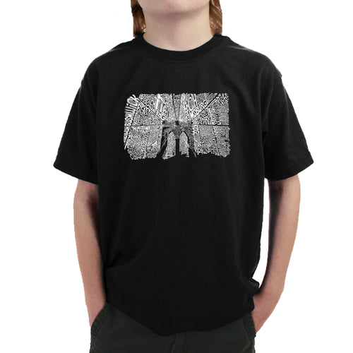 LA Pop Art Boy's Word Art T-shirt - Brooklyn Bridge