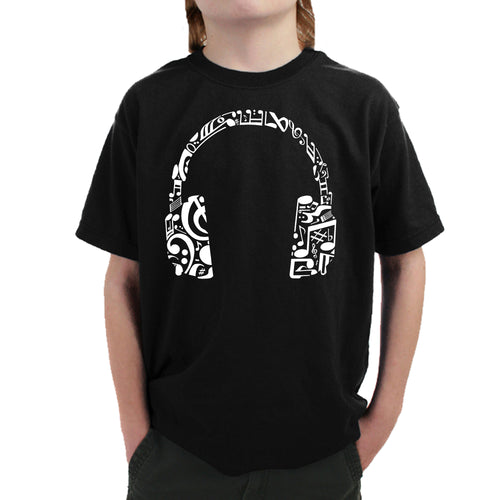 LA Pop Art Boy's Word Art T-shirt - Music Note Headphones