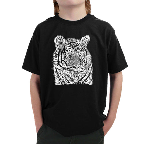 LA Pop Art Boy's Word Art T-shirt - Big Cats