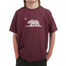 Load image into Gallery viewer, LA Pop Art Boy's Word Art T-shirt - California Bear