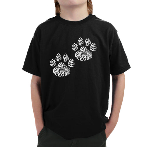 LA Pop Art Boy's Word Art T-shirt - Cat Mom