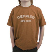 Load image into Gallery viewer, LA Pop Art Boy's Word Art T-shirt - Chicago 1837