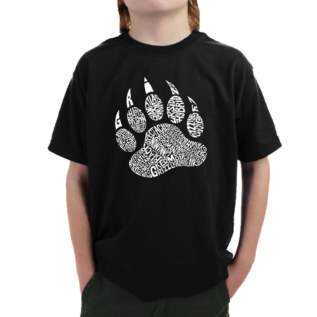 LA Pop Art Boy's Word Art T-shirt - Types of Bears