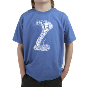 LA Pop Art Boy's Word Art T-shirt - Types of Snakes