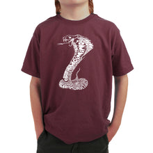 Load image into Gallery viewer, LA Pop Art Boy's Word Art T-shirt - Types of Snakes