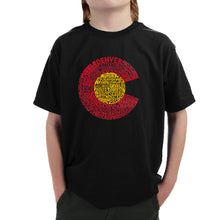 Load image into Gallery viewer, LA Pop Art Boy's Word Art T-shirt - Colorado