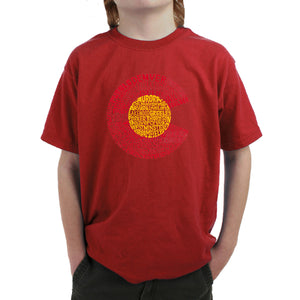 LA Pop Art Boy's Word Art T-shirt - Colorado