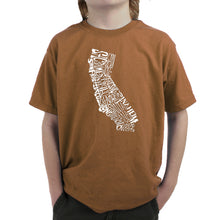 Load image into Gallery viewer, LA Pop Art  Boy's Word Art T-shirt - California State