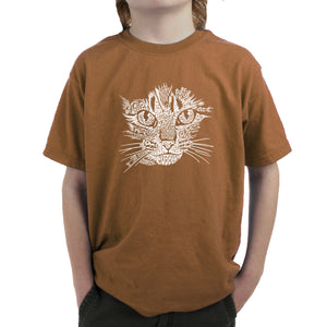 LA Pop Art  Boy's Word Art T-shirt - Cat Face