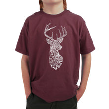 Load image into Gallery viewer, LA Pop Art Boy's Word Art T-shirt - Types of Deer