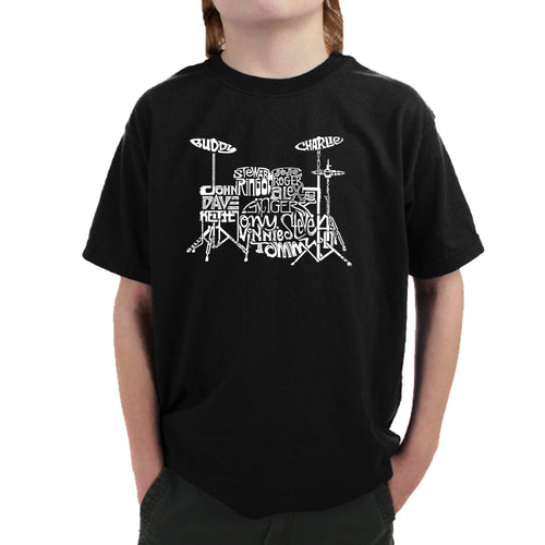 LA Pop Art Boy's Word Art T-shirt - Drums