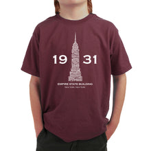 Load image into Gallery viewer, LA Pop Art Boy's Word Art T-shirt - Empire State Building