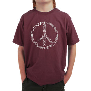 LA Pop Art  Boy's Word Art T-shirt - Different Faiths peace sign