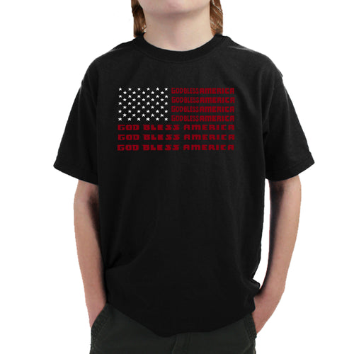 LA Pop Art Boy's Word Art T-shirt - God Bless America