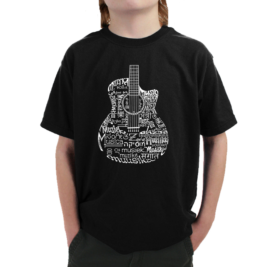 LA Pop Art Boy's Word Art T-shirt - Languages Guitar