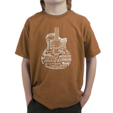 Load image into Gallery viewer, LA Pop Art Boy's Word Art T-shirt - Languages Guitar