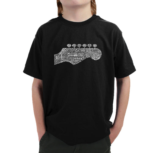 LA Pop Art Boy's Word Art T-shirt - Guitar Head
