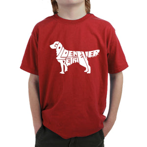 LA Pop Art  Boy's Word Art T-shirt - Golden Retreiver