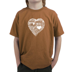 LA Pop Art Boy's Word Art T-shirt - LOVE IN 44 DIFFERENT LANGUAGES