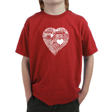 Load image into Gallery viewer, LA Pop Art Boy's Word Art T-shirt - LOVE IN 44 DIFFERENT LANGUAGES