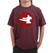 Load image into Gallery viewer, LA Pop Art Boy's Word Art T-shirt - Types of Martial Arts