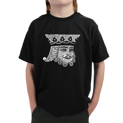 LA Pop Art Boy's Word Art T-shirt - King of Spades