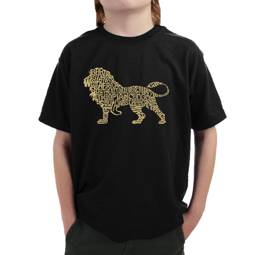 LA Pop Art Boy's Word Art T-shirt - Lion
